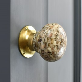 Stone Effect door knob with Polished brass backplate