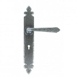 Tudor Design Sprung Lever Lock Set Finished In A n Antique Pewter