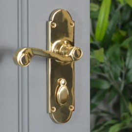 Polished Brass 6 Inch Lever Lock Handle