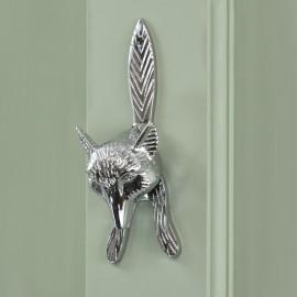 Bright Chrome Fox Door Knocker on Green door