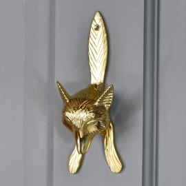 Polished Brass Fox door knocker on pastel grey door