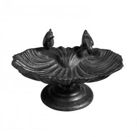Drinking Birds Cast Iron Bird Bath in a Black Finish