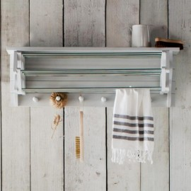 Off-White Extendable Wall Mounted Clothes Drying Rack