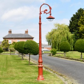 Antique Red Ornate Cast Iron Garden Lamp Post