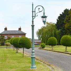 Pale Blue Cast Iron Ornate Swan Neck Lamp Post