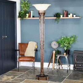 """Eltham Manor"" Antique Gold Floor Lamp in Situ in the Home"