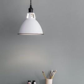 Enamel & Steel White Hanging Bowl Light in Situ in the Home