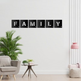 'FAMILY' Black Scrabble Square Letters in the Living Room