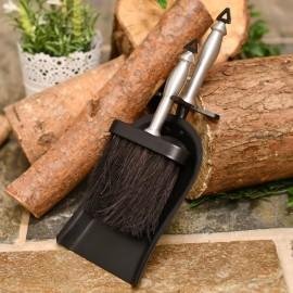York brush & pan set brushed silver handles