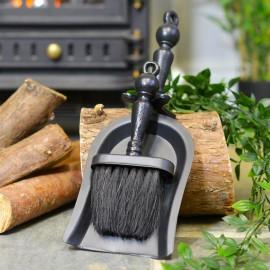 Black Iron Fireside Brush & Pan Set