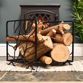 Attingham leaf style log holder infront of fire