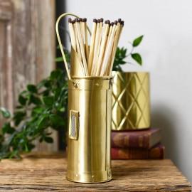 Brushed Brass Match stick holder on table