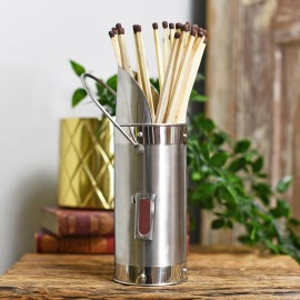 Polished steel Match holder with long matches on table