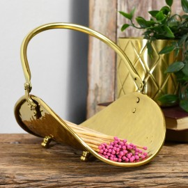 Stylish polished brass match holder with hinged carry handle