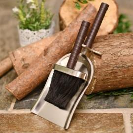 Brushed Steel & Leather brush & pan set