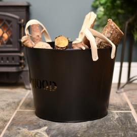 Simplistic wood basket with suede handles.