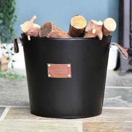 Small Logs black Log Basket in Situ