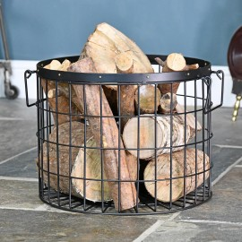 Large Black Wirework Fireside Log Basket