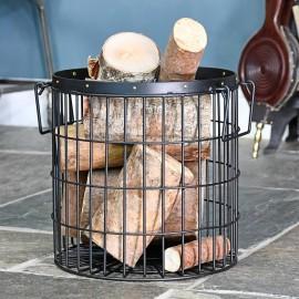 Black Wirework Fireside Log Basket In Living Room Setting