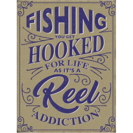 """""""Hooked on Fishing"""" Metal Sign"""