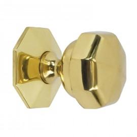 Flat Octagonal Polished Brass Centre Door Knob