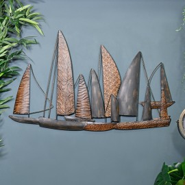 "Leaf Style ""Fleet of Boats"" Wall Art in Situ on a Blue Wall"