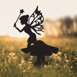Flower Fairy Sitting on Toad Stool Silhouette in Situ