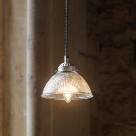 Fluted Satin Nickel Pendant Hanging Light in Situ