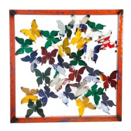Framed Recycled Metal Butterfly Wall Art