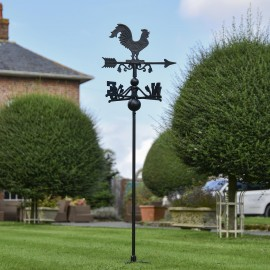 Cast Iron Rooster Free Standing Weathervane in the Garden
