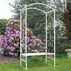 Cream summer garden arbour seat