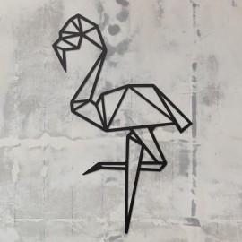 Geometric Flamingo Wall Art on a Rustic Grey Wall