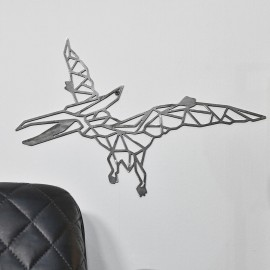 Geometric Natural Steel Pterodactyl Wall Art on a White Wall