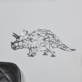 Geometric Triceratops Wall Art in a Natural Steel Finish