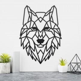 Geometric Iron Wolf Wall Art in Situ on a Cream Wall