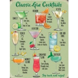 Classic Gin Cocktails Metal Sign