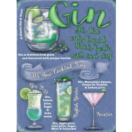 Gin Cocktails Guide Metal Sign