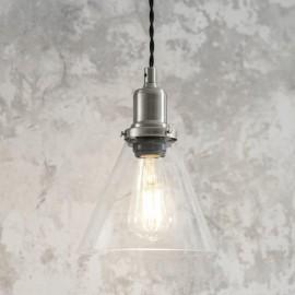 Glass Cone Satin Nickel Pendant Hanging Light in Situ