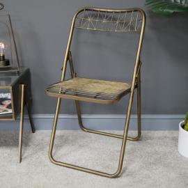 Gold Metal Wire Folding Chair in Situ