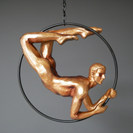 Hanging Acrobat Man Ornament in a Gold Painted Finish