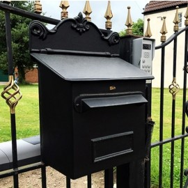 Black Goldhay Secure Post and Parcel Box For Gates