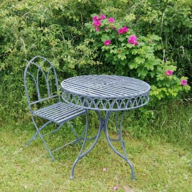 Lead Finish Gothic Style Two Piece Bistro Set in Situ