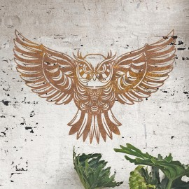 """""""Great Horned Owl"""" Wall Art in Situ on a Rustic Brick Wall"""