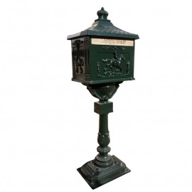 Green Huntington Post box on stand