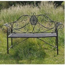 Grey Victorian Style Garden Bench in Situ in the Garden