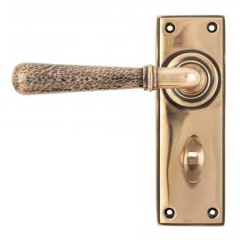 Hammered Polished Copper Lever Bathroom Door Handle