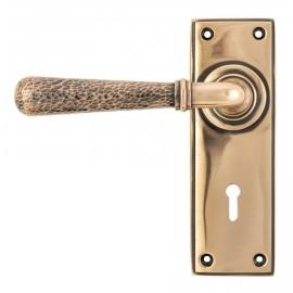 Hammered Polished Copper Lever Lock Door Handle