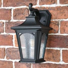 Small Black Wall Lantern in Situ on a Black Wall