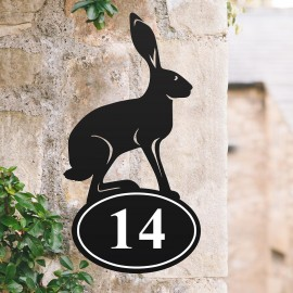 Bespoke Hare Iron House Number Sign in Situ