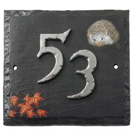 """Helmsford House"" Hedgehog Slate House Number Sign"